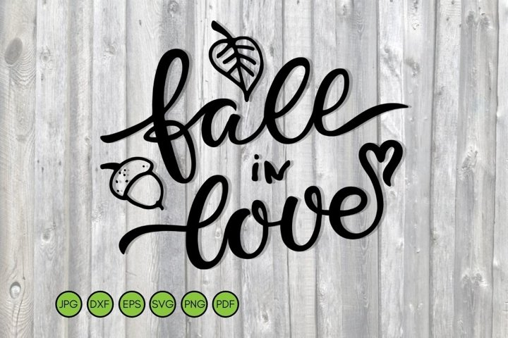 Fall in Love SVG text with falling leaf, acorn, heart.