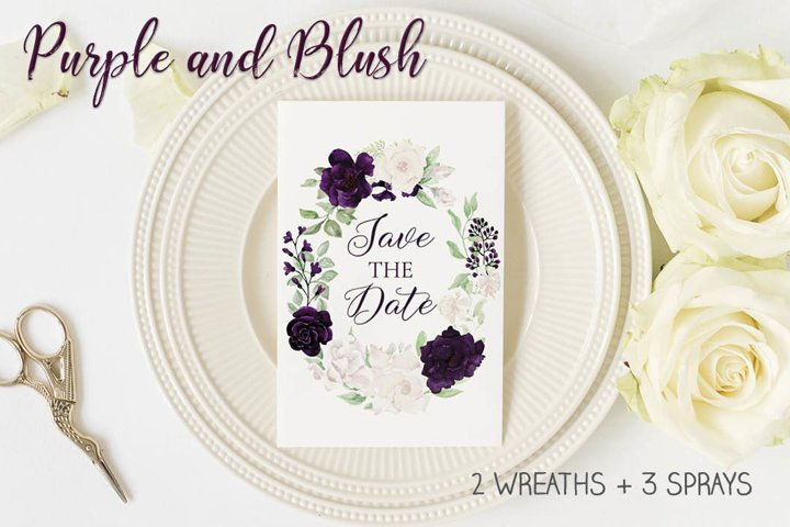 Purple and blush wreaths and sprays in watercolor