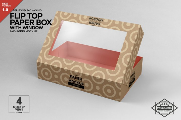 Flip Top Paper Box with Window Packaging Mockup