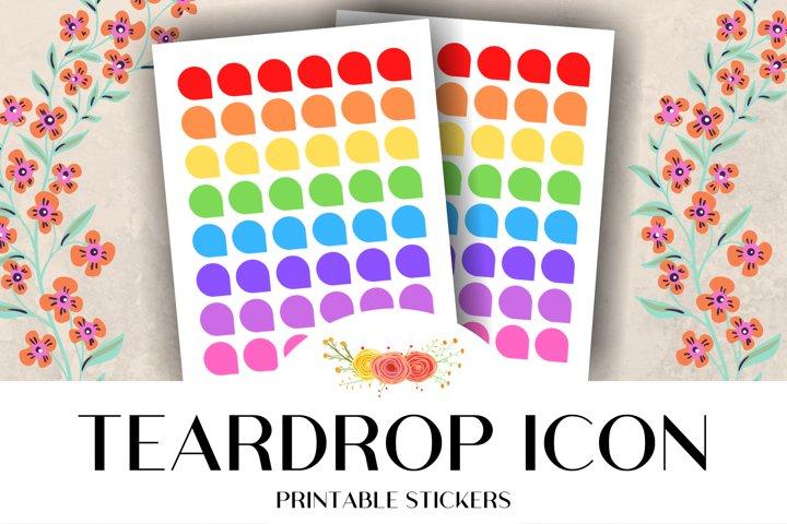 Teardrop Corner Icon Printable Stickers