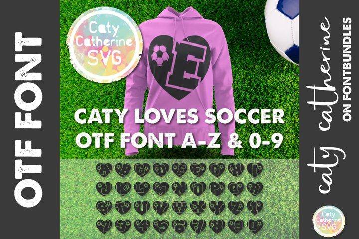 Soccer Football Love Heart Initial Font A-Z & 0-9 OTF