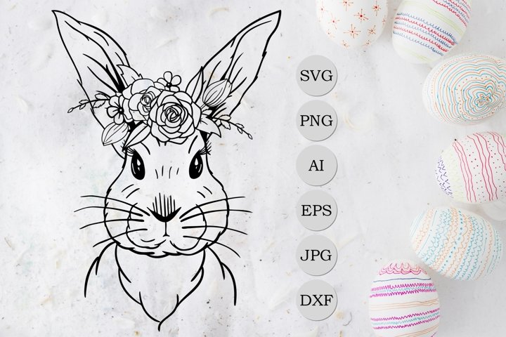 Easter Bunny SVG, Easter SVG, Bunny with flowers