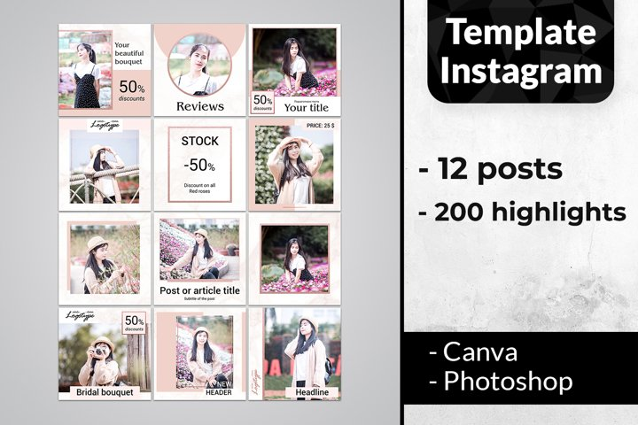 Rose gold Template Instagram Pack | story highlight icons