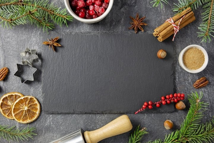 Christmas dark background. Flat lay photo mockup.