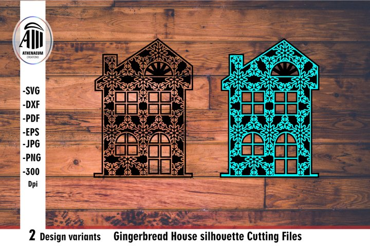 House svg. Gingerbread House silhouette Laser cutting.