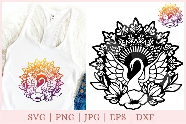 Mandala swan svg, bird svg, bird mandala svg, zentangle svg