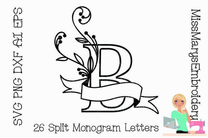 Split Monogram Letters SVG Cutting File PNG DXF AI EPS