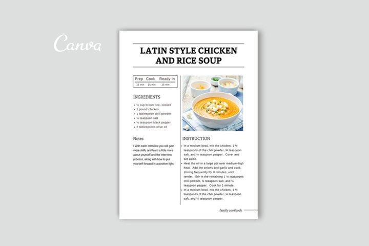 Editable Recipe Template
