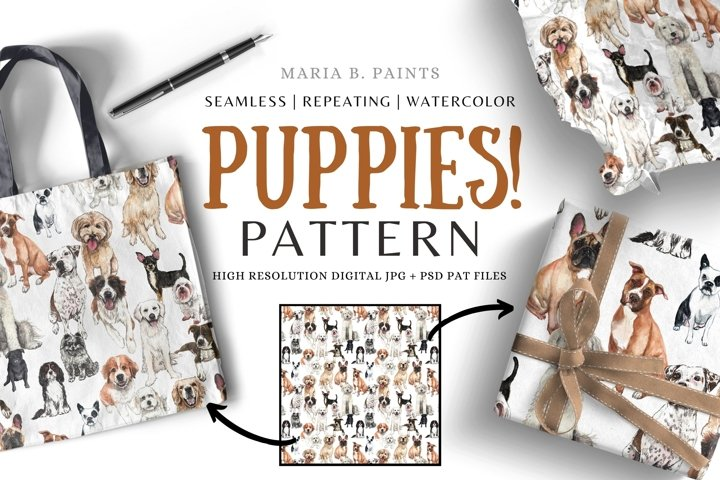 Adorable Puppy Pattern Seamless Repeating Pattern JPG PAT