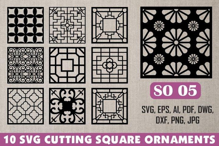 SO 05, 10 SVG CUTTING SQUARE ORNAMENTS