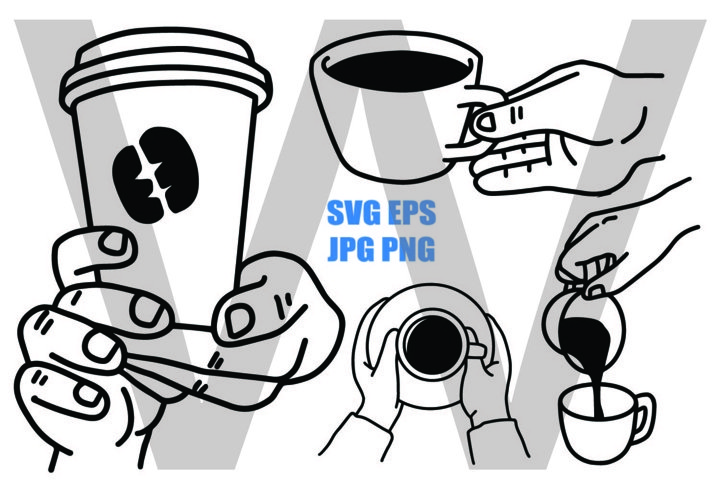 Coffee Cup Set B - Holding and Pouring - SVG EPS JPG PNG