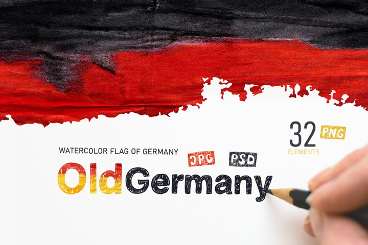 Old Germany. Watercolor flag.