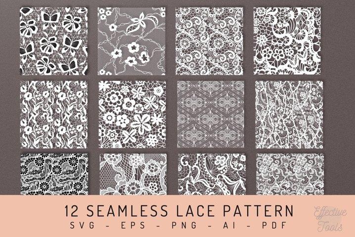 12 Seamless Lace Pattern svg - eps - png - ai - pdf