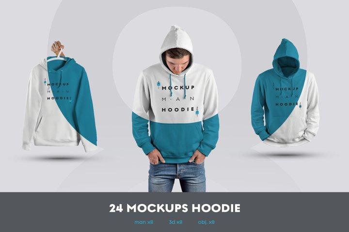 24 MockUps Man Hoodie - Man/3D/objects