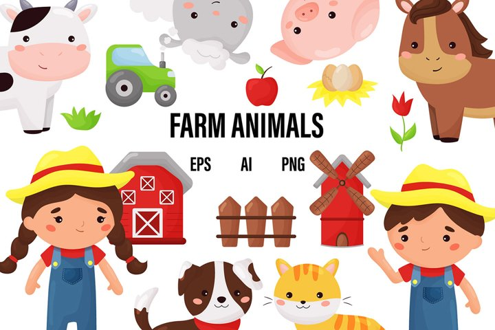 Vector cute Kawaii Farm animals and farmers clipart