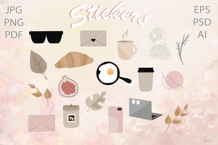 Fashion stickers| Cozy digital stickers PNG