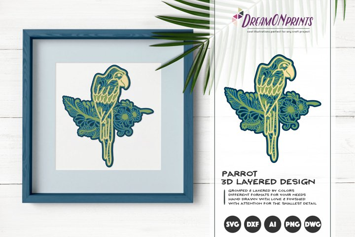 Parrot 3D Layered Design | Floral Multi Layer Mandala