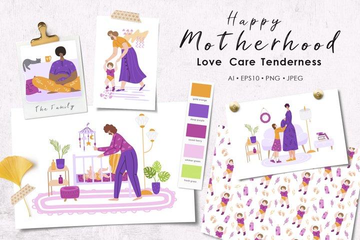 Motherhood - love, care, tenderness