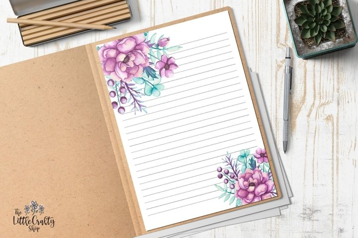 Watercolor Printable Stationery Set, Letter Paper