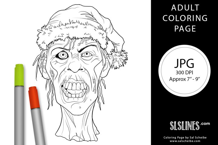 Ugly Zombie Head Christmas Adult Coloring Page