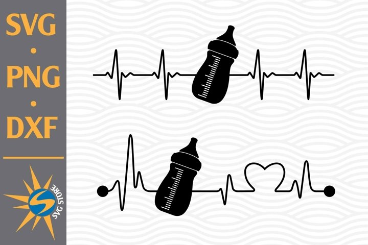Baby Bottle Heartbeat SVG, PNG, DXF Digital Files Include