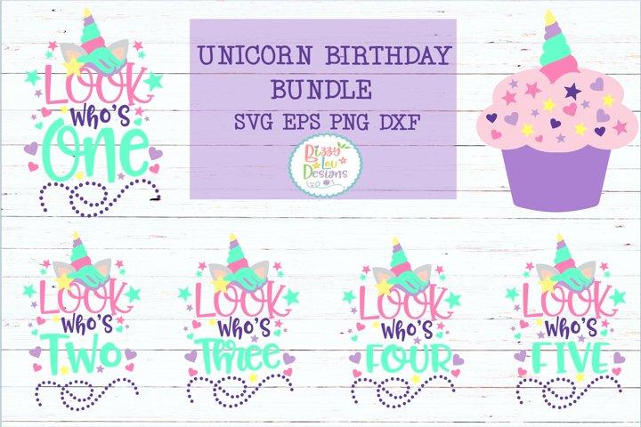 Unicorn Birthday Bundle SVG DXF EPS PNG cutting file