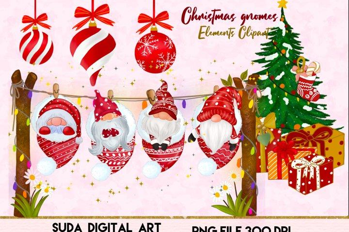 Christmas cute gnomes clipart