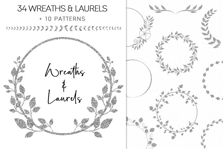 Silver Glitter Wreaths And Laurels Floral Clipart PNG