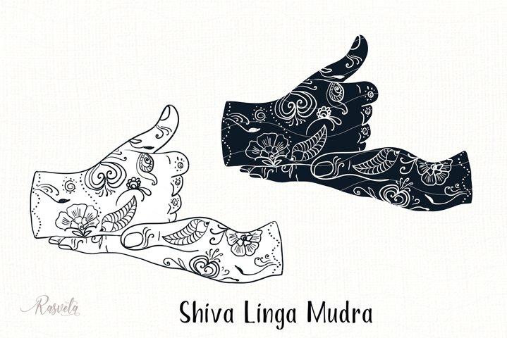 Shiva Linga Mudra with mehendi pattern