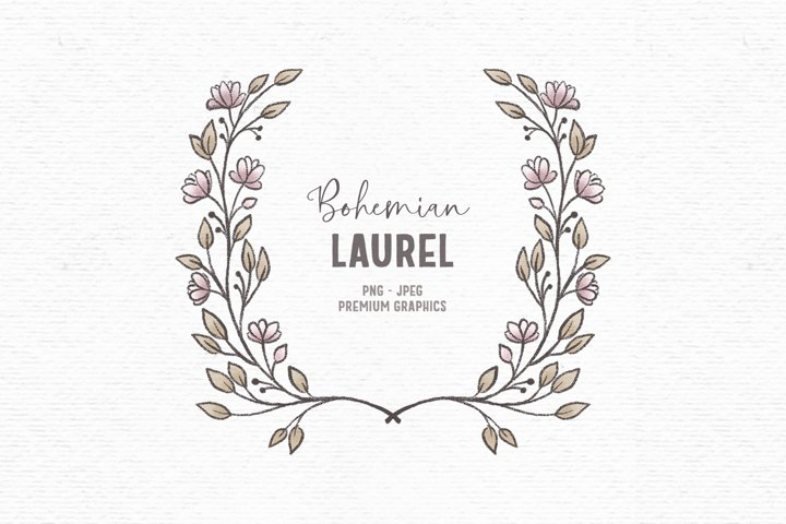 Hand-drawn flower frame clipart | Boho floral clipart border