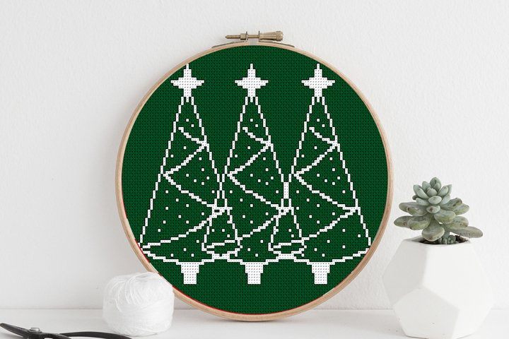 Cross stitch pattern PDF - Christmas trees