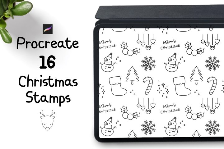 Procreate Stamps 16 Christmas doodle stamps