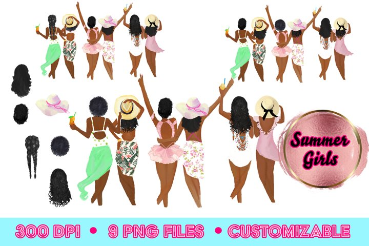 African American Summer clipart, pool party, beach clipart,