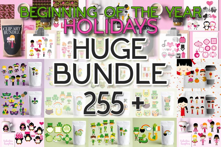 Beginning of the year holidays bundle, huge clip art