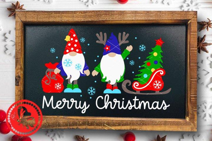 Merry Christmas Gnomies svg Gnomes Deer antlers Gifts Tree