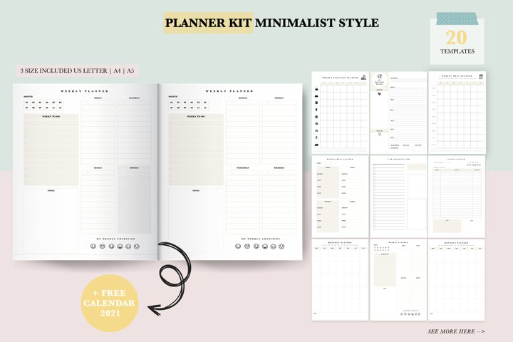 2021 Planner Printable Bundle   Daily and Weekly Planner
