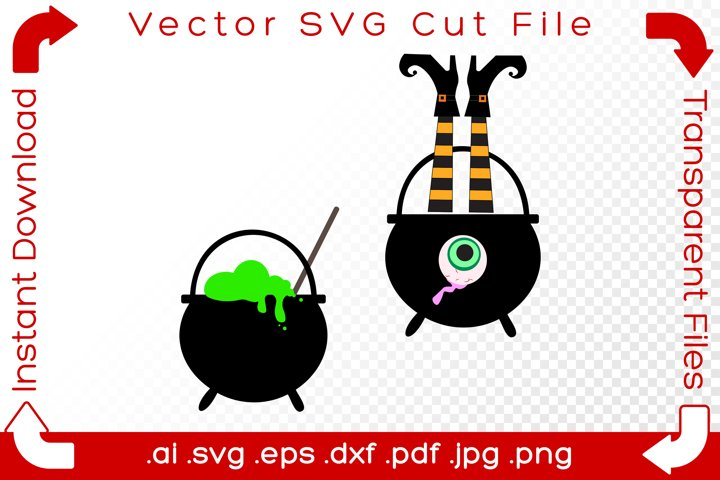 Halloween Cauldron Pots SVG Scene Holiday Cut Files Bundle
