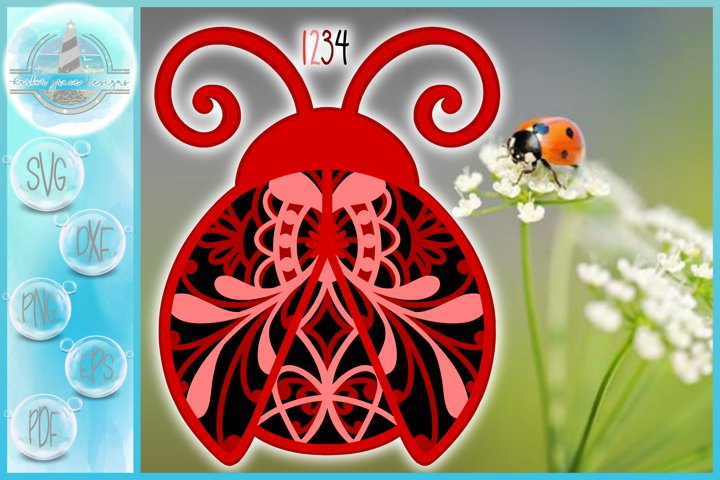 3D Mandala Layered Design |Ladybug Mandala SVG
