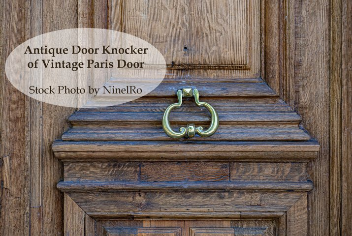 Antique Door Knocker of wooden door in Paris France
