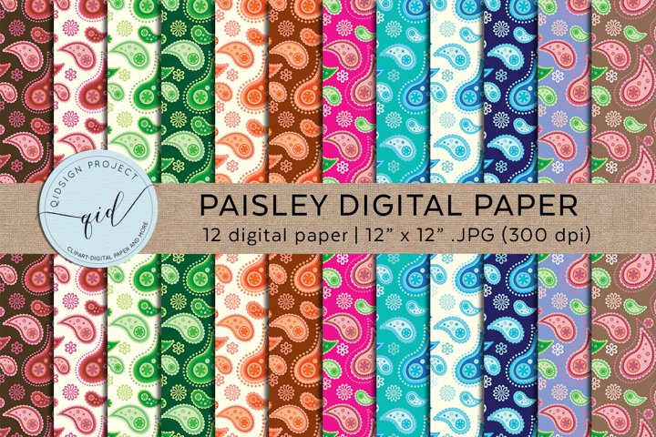 Paisley Digital Paper Pattern