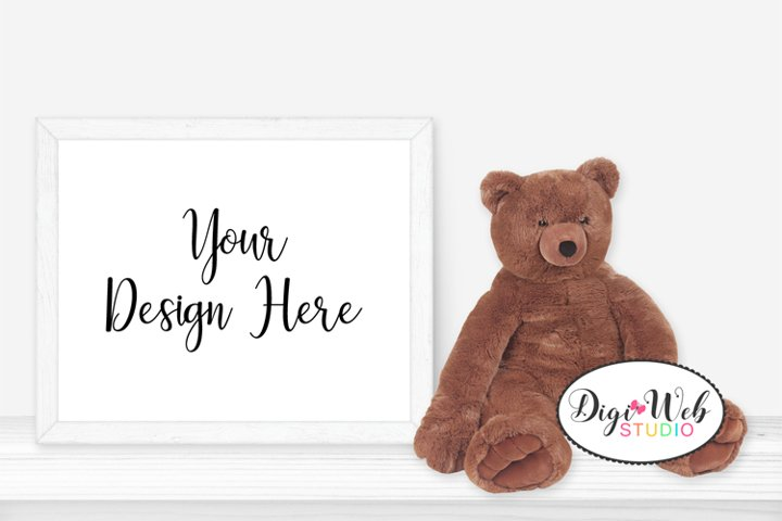 Baby / Nursery Mockup - White Frame on Shelf w/ Teddy Bear