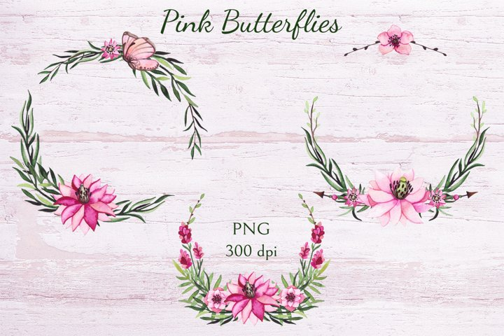 Pink Butterflies example 4