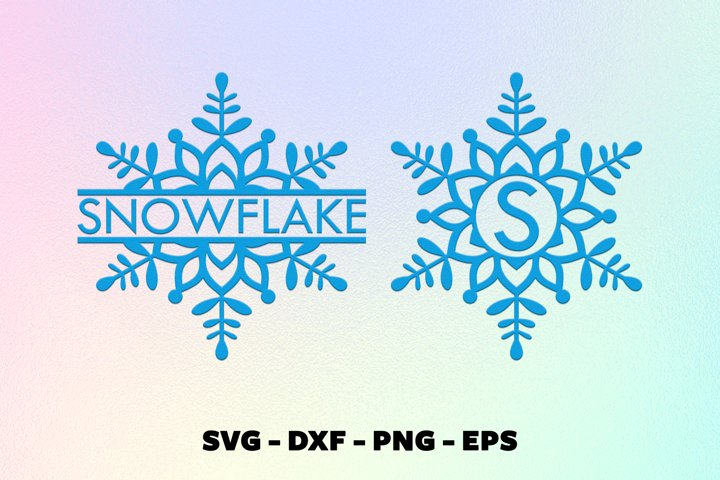Christmas snowflake split monorgam frame svg
