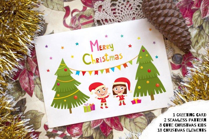 Christmas bundle with kids and Christmas tree - PNG, EPS, AI