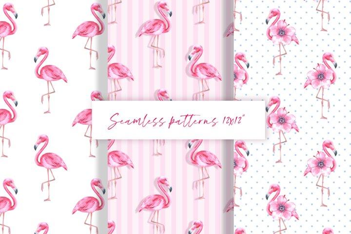 Flamingo. Watercolor patterns