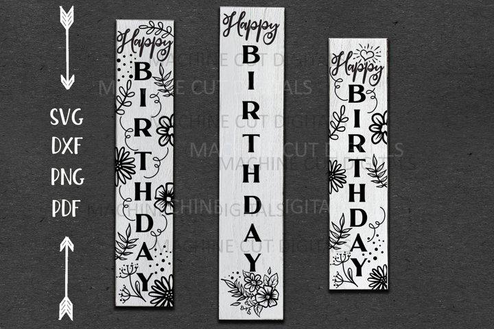 Happy Birthday Vertical Long sign sxg dxf Cricut cut file