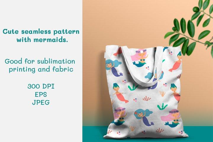 Cute seamless pattern with mermaids
