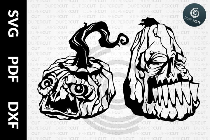 SVG / PDF / DXF Halloween Pumpkins, Papercutting Template