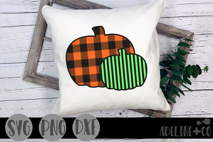 Plaid and striped pumpkins, Halloween, SVG, PNG, DXF