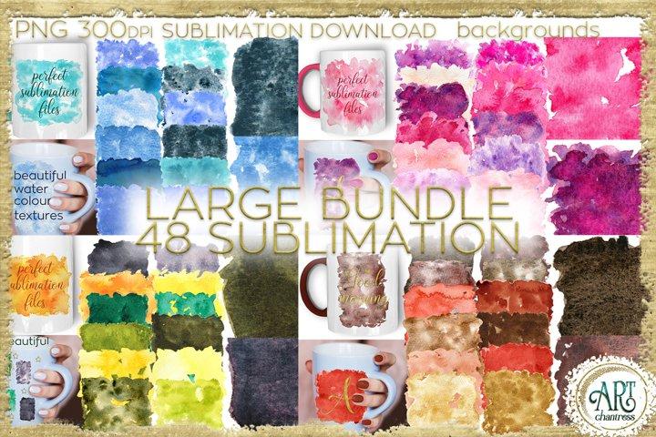 Sublimation Large BUNDLE PNG Watercolor backgrounds textures